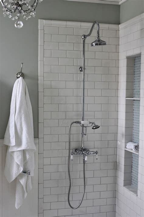 shower with subway tile golden boys and me shower niche tutorial