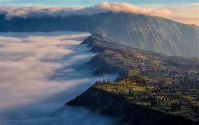 Bromo Indonesia Sunrise Nature Landscape Clouds Mount