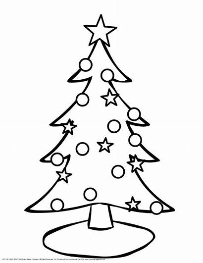 Outline Tree Christmas Coloring Blank Popular