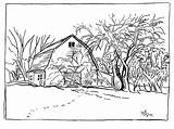 Coloring Fall Pages Scene Farm Adults sketch template