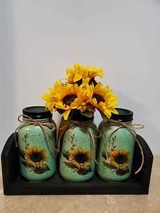 Mason, Jar, Kitchen, Utensil, Holders, Mason, Jar, Decor, Decoupaged, Jars, Sunflower, Decor, Sunflower