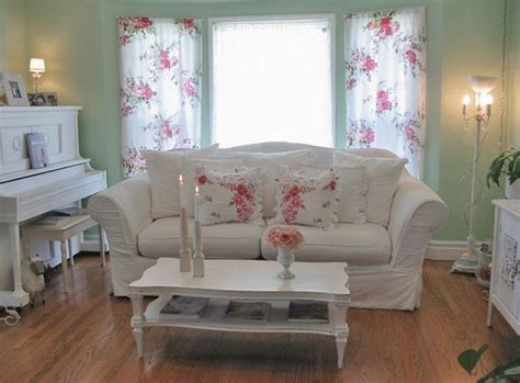 shabby chic front room floral curtain and sage green wall color for shabby chic cottage style living room with