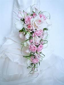 Bouquet Fleur Mariage : bouquet de mari e cascade rose rose blanc calla arum ~ Premium-room.com Idées de Décoration