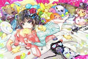 Original, Characters, Anime, Girls, Animals, Bed, Weapon, Mask, Flowers, Hd, Wallpapers, Desktop
