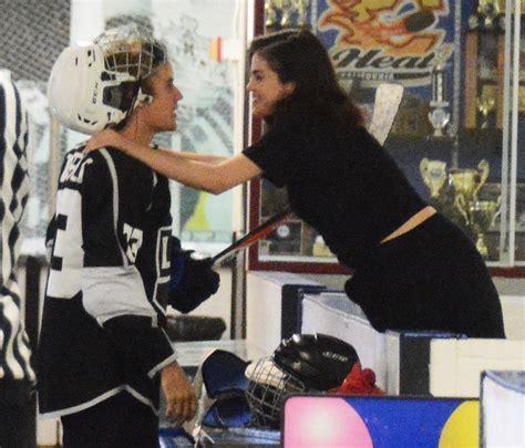 Justin Bieber Selena Gomez Kiss At His Hockey Game