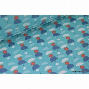Tissu 100 Coton : coton imprim dessin enfant th me aquatique motif marins et pompons ~ Teatrodelosmanantiales.com Idées de Décoration