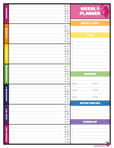 weekly planner templates  agenda templates