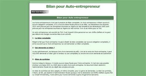 bilan auto entrepreneur bilan auto entreprise