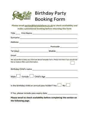 birthday party booking form template fill