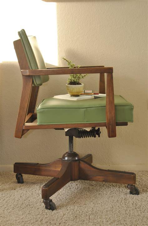 olive green mid century walnut office chair trevi