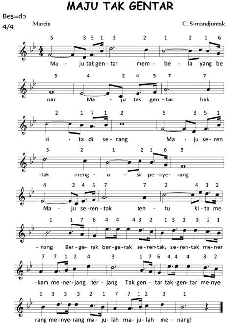 maju tak gentar not angka not lagu maju tak gentar lagu nasional pembakar semangat para pemuda