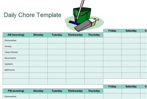 chore sheet checklist  excel templates