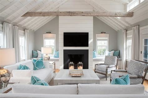 White and Gray Cottage Living Room with Pops of Blue
