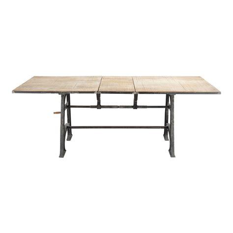 table de salle  manger  rallonges en manguier massif  metal   cm manivelle maisons du