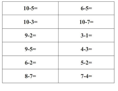printable math worksheets subtraction worksheets for all