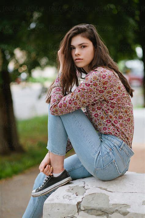 Portrait Of A Beautiful Brunette Teen Girl By Sergey