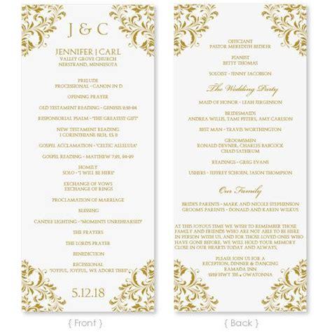 wedding program template instant edit your wording nadine gold tea length