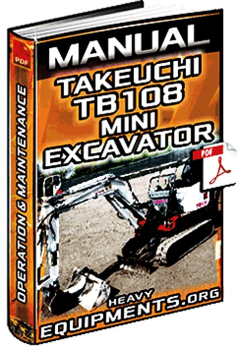 manual  takeuchi tb mini excavator operation maintenance heavy equipment