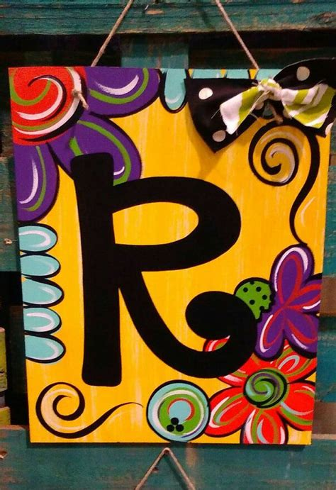 spring  summer initial board door hanger  wall hanger painting crafts initial canvas