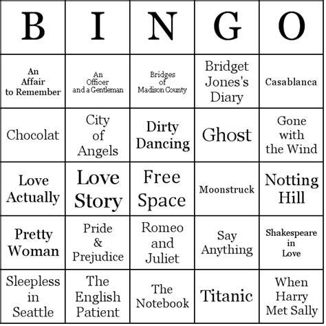 romantic movies bingo cards