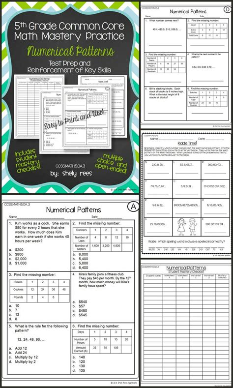 Fifth Grade Common Core Math Test Prep And Practice Numerical Patterns Includes Practice
