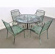Modern Wrought Iron Patio Dining Set Table Chairs Salterini EBay Wrought Iron Patio Furniture Bistro Set Outdoor Furniture Wrought Iron Outdoor Furniture Leisure Furniture Sofa Chairs Courtyard Style The Outdoor Interior With Wrought Iron Patio Set