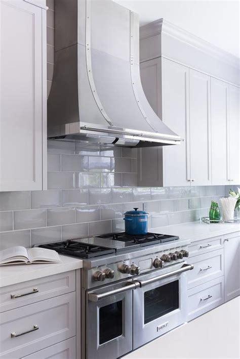 grey kitchen cabinets with backsplash gray beveled kitchen backsplash tiles with french hood