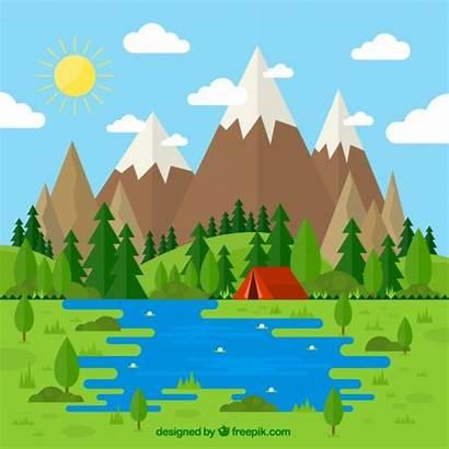 Landscape Vector Flat Tent Freepik Mountain Lake