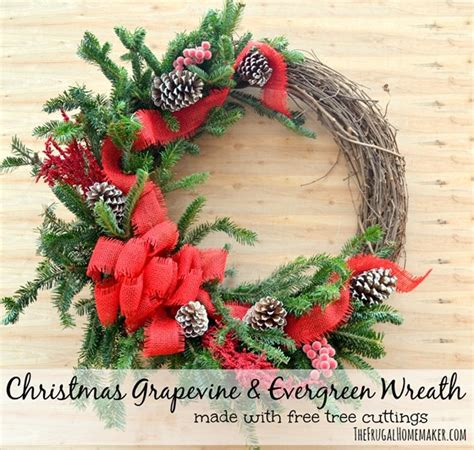 christmas grapevine evergreen wreath made with free