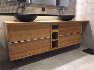 Meuble double de salle de bain godmorgon en bambou massif for Porte d entrée pvc avec meuble de salle de bain double vasque sur pied