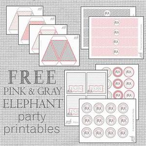 Free Pink & Gray Elephant Party Printables for any ...