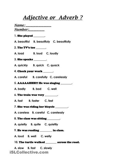 adjective  adverb adverbs worksheet adjective