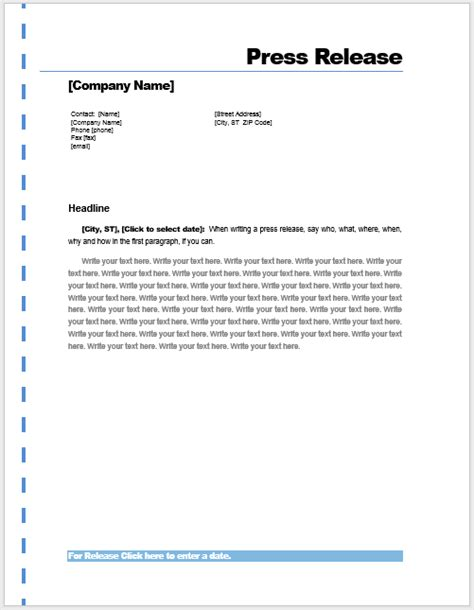 press release template microsoft word templates