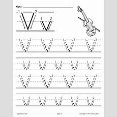 Free Printable Letter V Tracing Worksheet With Number And Arrow Guides Supplyme