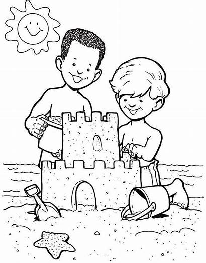 Sand Castle Coloring Sandcastle Boys Drawing Pages