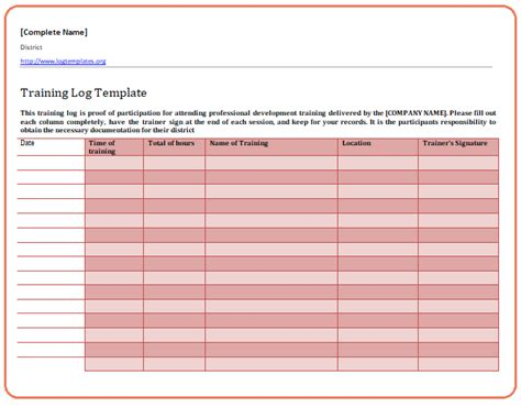 training log templates   printable word excel