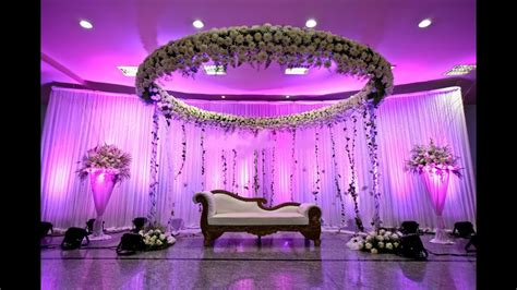 Wedding Stage Decoration With Flowers and Lights Stage