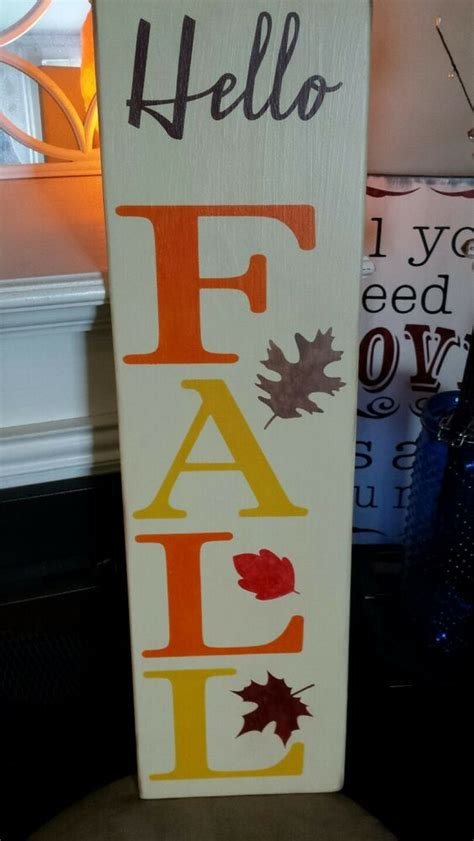 Fall Wood Sign Hello Large Rustic Vertical Primitive