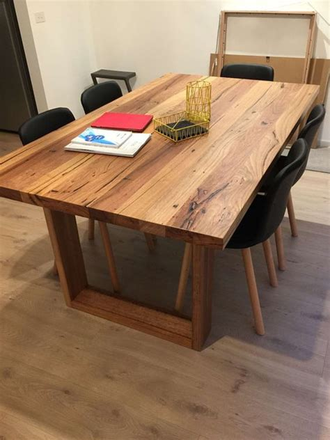 melbourne recycled timber table with modern box legs