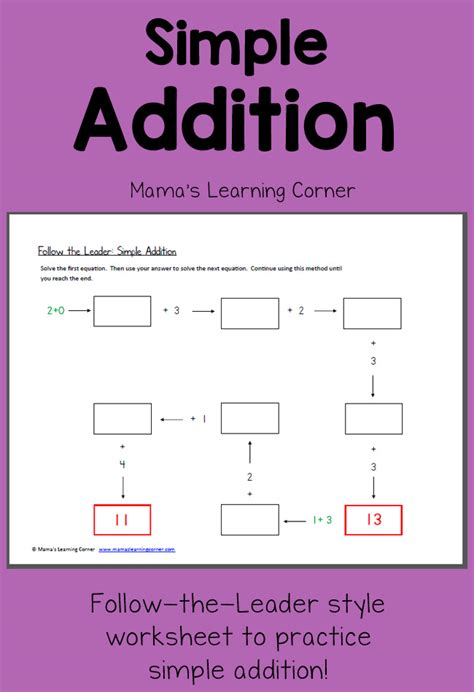 follow  leader simple addition mamas learning corner