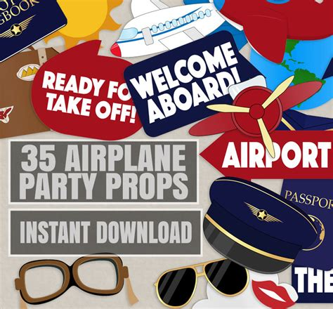 pilot party props airplane party diy printable photo