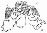 Angels Singing Angel Clipart Coloring Christmas Pages Host Cliparts Printable Heavenly Clip Sing Colouring Jesus Birth Library Church Cheerful Warrior sketch template