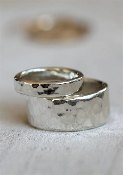 wedding ring set sterling silver hammered rings 2556821