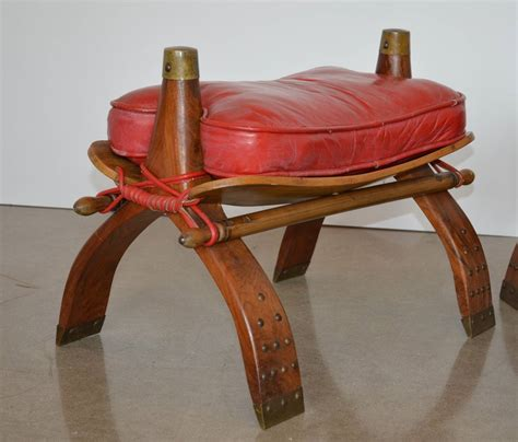 camel saddle stools or ottomans in leather at 1stdibs