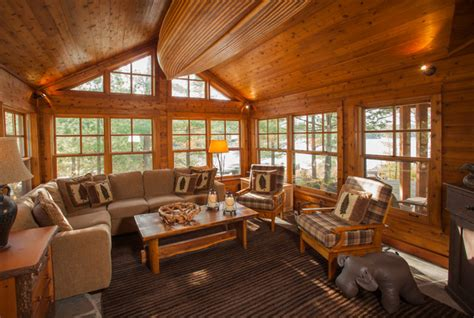 spruce lake cottage rustic family room toronto