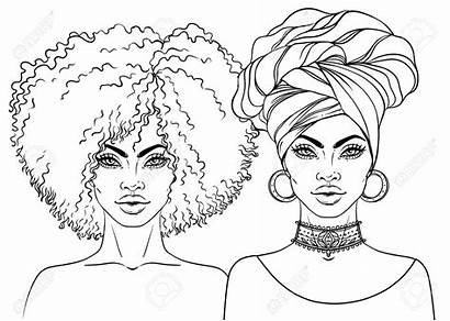African American Woman Vector Drawing Pretty Illustration