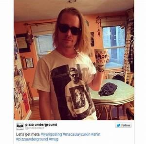 Culkin veste camiseta com foto de Gosling usando camiseta ...