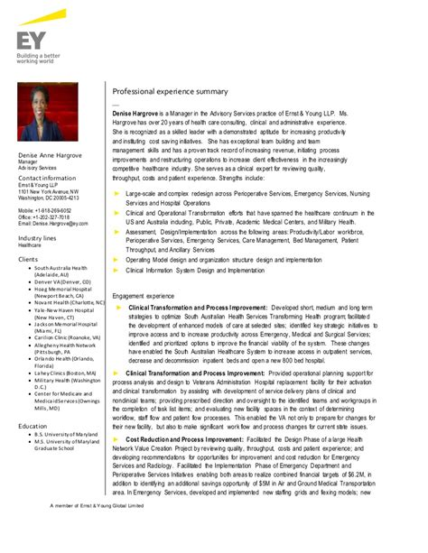 Cv Draft by Advisory Ey Cv Draft Denisehargrove