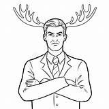 Horns Deer Coloring Businessman Husband Herten Vecteur Cerfs Communs Volwassenenvector Boek Kleurend Cervi Colorano Affari Corni Marito Vettore Uomo Dei sketch template