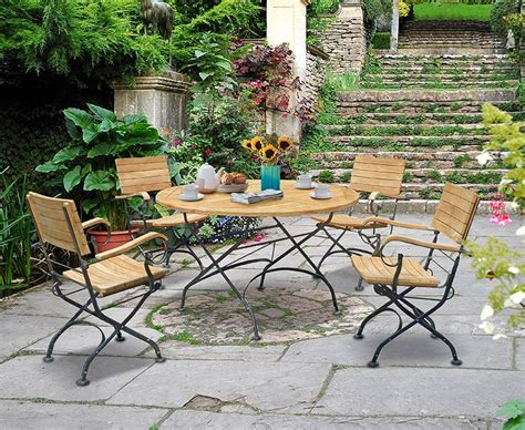 Garden Teak Bistro Table And 4 Chairs